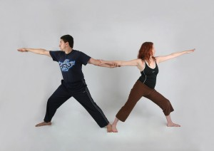 yoga warrior pose for partners