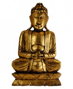 This figure represents the Three Jewels of Buddhism the Buddha, the Sangha and the Good Law (Dharma).